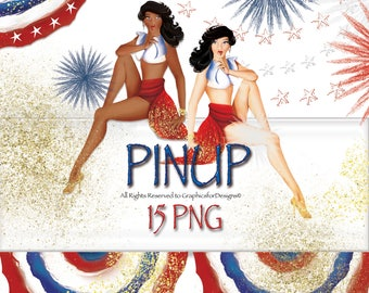 Red, White & Blue Fourth Of July, Hand Painted, Watercolor, Clip Art, Table Runners, Sparklers, Fireworks, Gold Glitter, Stars and Stripes