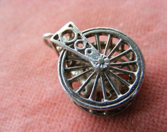 Very Rare Vintage Sterling Silver Charm mouse in an Exercise wheel moves