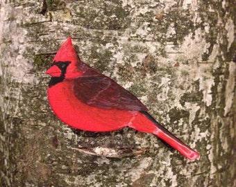 Wooden Northen Cardinal Brooch, Gift for Nature Lovers, Handmade Wooden Brooch