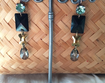 """Earrings geometric couture Crystal swarovski and brass """"Chic Christmas"""""""