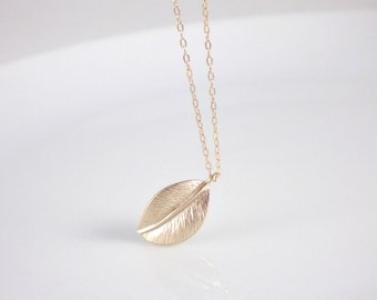 Gold leaf necklace, 14k gold filled chain and clasps, leaf pendant