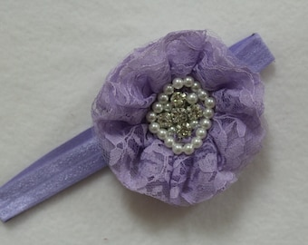 Lavender baby girl stretch headband, Shabby chic designer headband, Cottage chic lilac headband, New baby lavender headband, Baby Photo Prop