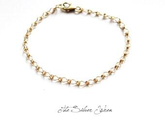 Simple Gold Bracelet, Gold Bracelet, Gift Under 25, Simple Bracelet, Bridesmaid Gift, Stacking Bracelet, 14kt Gold Filled