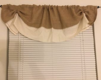 Natural Burlap And Muslin Tie Up Valance/Curtain