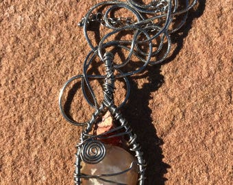 Handmade Wire Wrapped Pendant - White Lace Agate & Raw Mexican Fire Opal