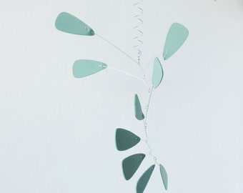 Dark Mint Hanging mobile, Art mobile, Kinetic , 9 elements