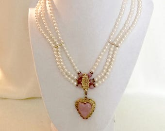 Vintage 80s Pearl and Heart Locket Necklace  VG 2954