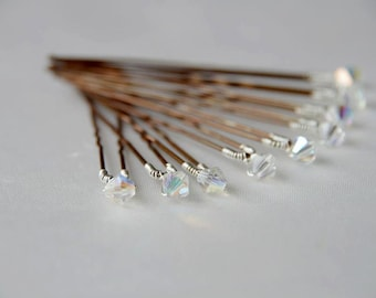 Bridal AB Crystal, Pearl hairpins, set of 10 perfect for brides, weddings and proms