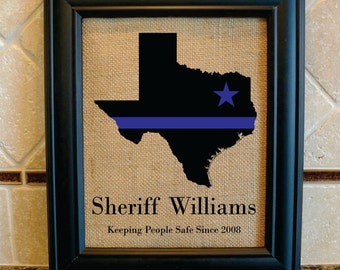Police Officer Gift - Thin Blue Line - Star where based - Any State - State Police, Sheriff, Deputy, State Trooper - Police Motto (serv104)