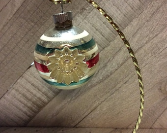 Vintage Mercury Glass Shiny Brite Christmas Ornaments 1950's  Silver Striped Double Indent Ornament
