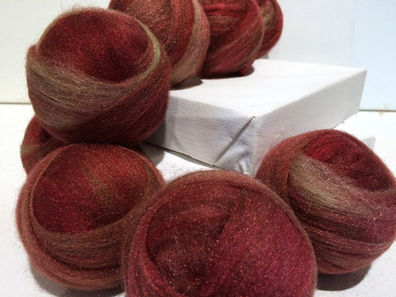maroon gold Starbright nylon, roving top, Blending, Wet Nuno Needle Felting, Spinning Fiber add in .5 oz, sock yarn vegan fiber, red gold