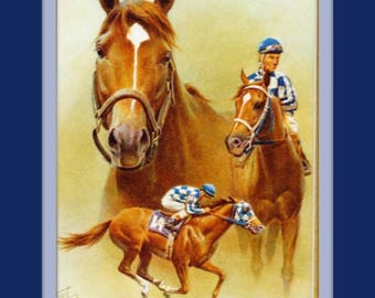 Secretariat Ron Turcotte Fred Stone 11x14 Double Matted 8x10 Art Print Greatest Ever Triple Crown winning Race Horse