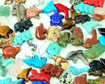 Ten Gemstone Mixed Fetish Beads Zuni Style Southwestern Totem Animal Guardian Horse Bird Bear Fish Turtle Wolf Buffalo Frog Squirrel Dolphin