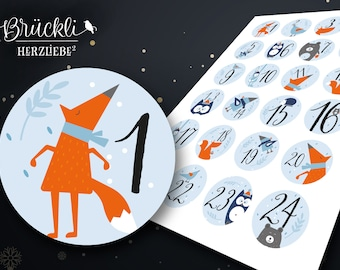 24 labels / numbers for your advent calendar, advent calendar numbers / animals / for children
