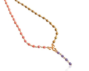 Pink gold and purple beaded link necklace, Beaded Y necklace, Pastel pink and purple beaded necklace, Long pendant beaded necklace