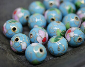 Chinese Cloisonne Beads 10mm Turquoise Blue Cloisonne Bead Enamel Beads Metal Beads (4 beads) CL16