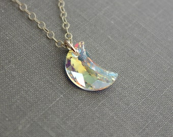 Swarovski Crystal Elements Aurora Borealis Moon Necklace, 14k Gold Filled Chain, Autumn Crescent Moon,  Rainbow Prism celestial jewelry