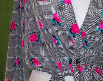 80s style Pink Rose Plaid Blouse