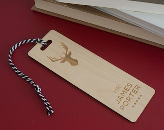 Custom made wooden bookmark. Laser engraved stag head bookmark add your name L238 Book lover gift