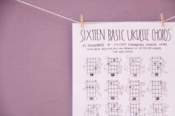 PDF Sixteen Basic Ukulele Chords Chart 8.5 x 11