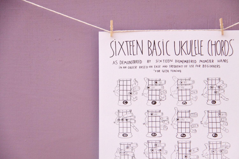 PDF Sixteen Basic Ukulele Chords Chart 85 X 11