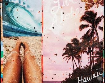 LIVE ALOHA, HAWAII, New 8x10, 11x14, 16x20, Hawaii, Hand-Signed matted print, Hawaii art, beach art, ocean, orchids, aloha