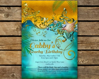 Birthday Invitations, Beach Invitations, Beach Party, Birthday invitations, Invitations