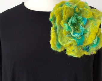 Felted green and tourquoise flower brooch