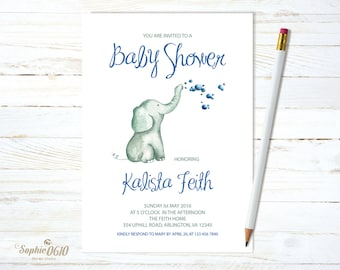 Printable baby shower invitation, Watercolor elephant with bubbles, digital file