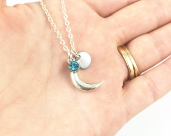 Moon Necklace Silver Moon Necklace Half Moon Necklace Memorial Jewelry Remembrance Jewelry Keepsake Jewelry, In Memory Of, Loss Of Loved One