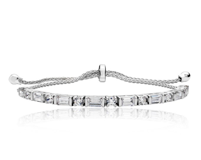 "925 Sterling Silver Round & Baguette Claw Set Cz 7"" Friendship Toggle Bracelet"