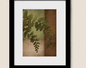 Green Leaf Fern Wall Art Print, 5 x 7 Botanical Wall Art, Living Room Decor, Nature Art Earth Tones Home Decor (88)