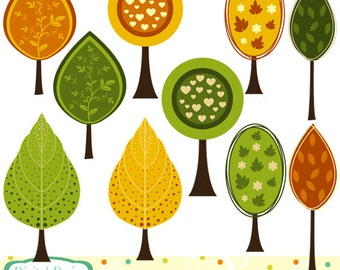 Summer and Autumn trees clip art set, 10 designs. INSTANT DOWNLOAD for Personal and commercial use.