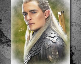 Legolas, The Lord of the Rings, The Hobbit, Artwork, Handmade, Printable Art, Poster, Instant Download, Digital Print, Wall Art, Download