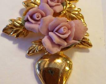 Vintage Avon floral vase pin, vintage avon, avon brooch, avon, flower vase brooch