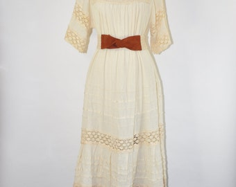 70s cream linen dress / bohemian wedding dress / 1970s lace peasant dress