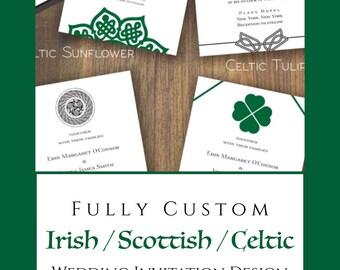 Fully Custom Irish / Scottish / Celtic Wedding Invitation Design