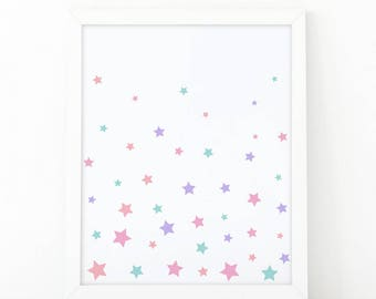 Stars print colorful, Make a wish, Star light, Star bright, Nursery Print, Printable Art, Kids room decor, Nursery Decor, Instant Download