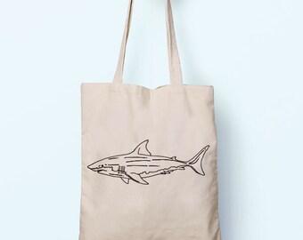 Great White Shark Illustration Drawing Cotton Shopper Model Tote Canvas Bag Shopping Gym Books Tumblr Funny Joke Boy Girl Sack Cotton Gift