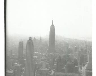 "Vintage Snapshot ""Hazy Days"" Aerial View Empire State Building New York City NYC Old Black & White Photo Vernacular Photography"