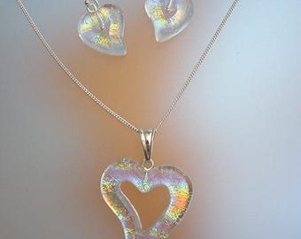 Dichoric Glass Jewelry Set - Heart Pendant Necklace and Drop Earrings - Sterling Silver Jewelry