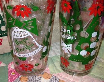 Vintage Hazel Atlas Ware Christmas Drinking Glasses 8 PC
