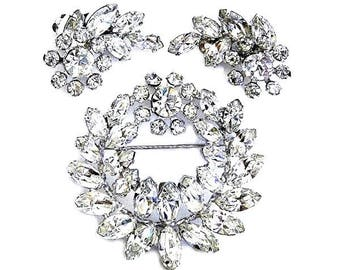 Sherman Ice White Crystal Brooch and Earring Set