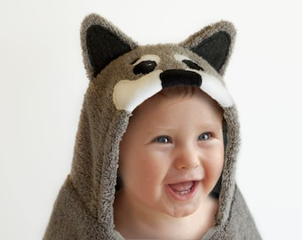 Hooded Towel / Husky Dog / Husky Puppy / Hooded Bath Towel Baby / Animal Hooded Towel / Personalized / Baby / Toddler