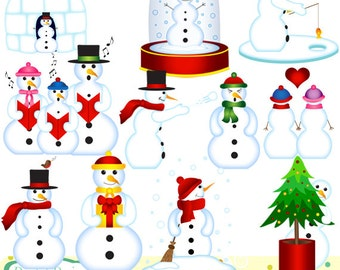Snowmen playing clip art set, 11 items. INSTANT DOWNLOAD for Personal and commercial use.