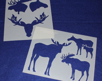 "2 Piece Set Moose  8"" x 10"" - Stencil-  14 Mil Mylar"