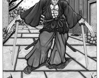 Wolverine Samurai ink wash drawing 11x17