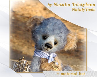 PDF Artists Teddy Bear PATTERN, teddy bear Sailor by NatalyTools, instant download teddy pattern, soft toy pattern, (8in/20cm)
