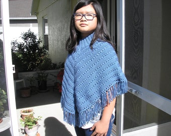 Knitted Poncho, Junior Girl - Country Blue