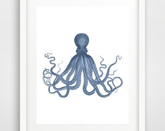 Navy Octopus Print, Octopus Wall Art, Octopus Poster